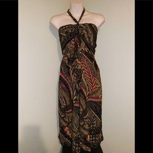 Beautiful tropical boho halter dress